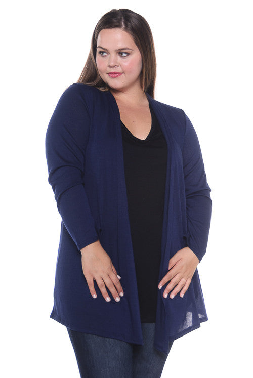 Made in USA Women's Lightweight Open Front Navy Cardigan Front Plus Size