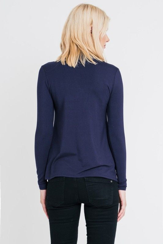 American Made Women's Navy Keyhole Neckline Top Back