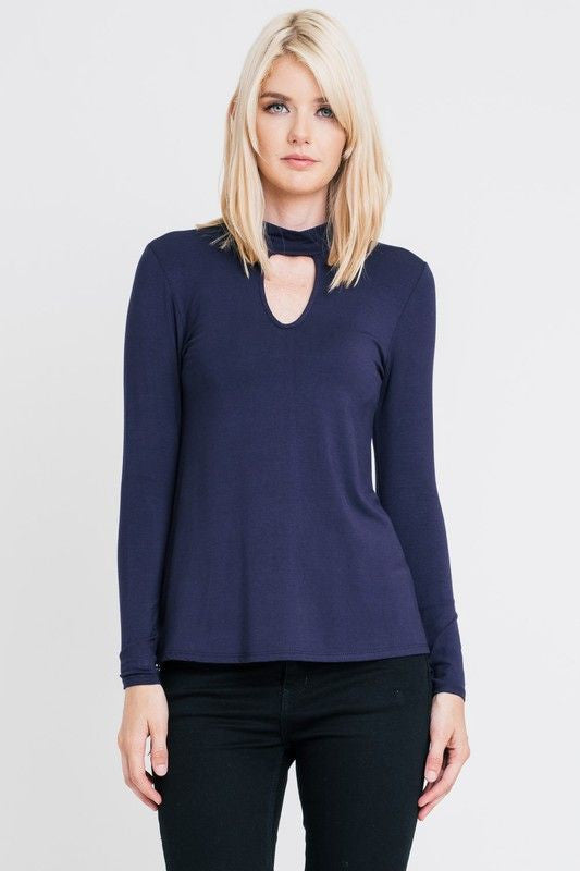 American Made Women's Navy Keyhole Neckline Top Front
