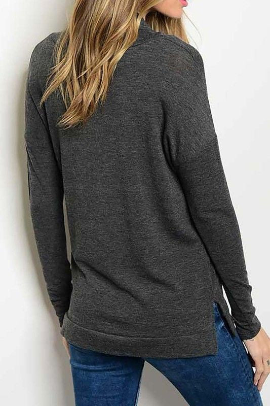 American Made Women's Grey Cowl Neck Top Back