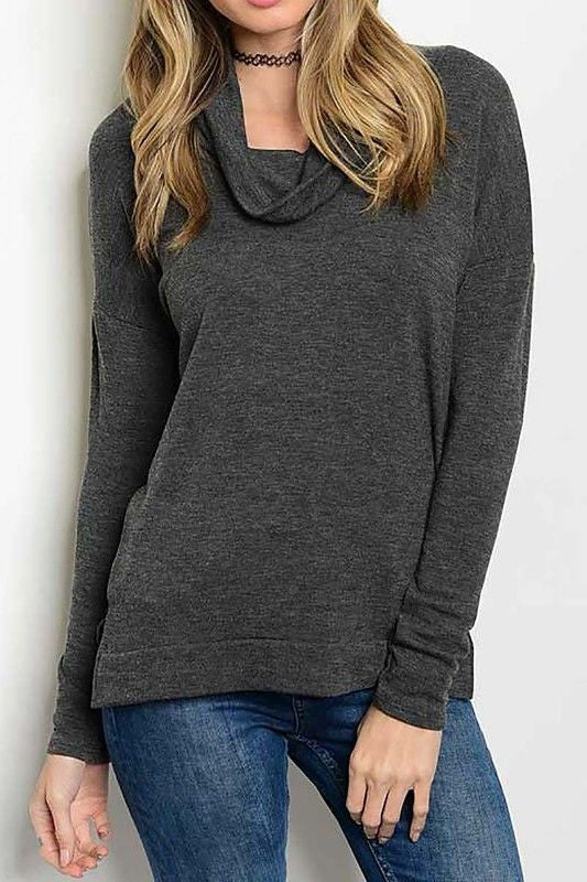 American Made Women's Grey Cowl Neck Top Front