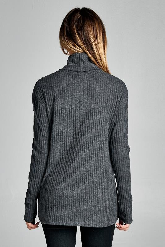 American Made Women's Grey Crisscross Turtleneck Back