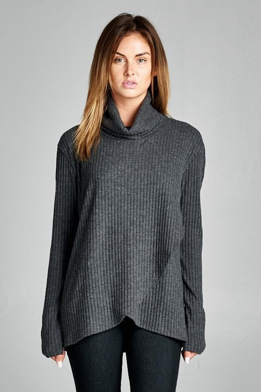 American Made Women's Grey Crisscross Turtleneck Front