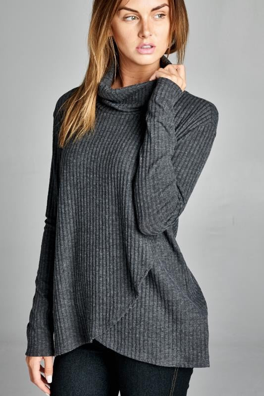 American Made Women's Grey Crisscross Turtleneck Closeup