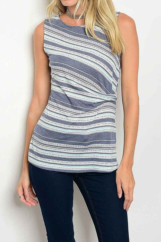 American Made Women's Blue Sleeveless Striped Twist Top