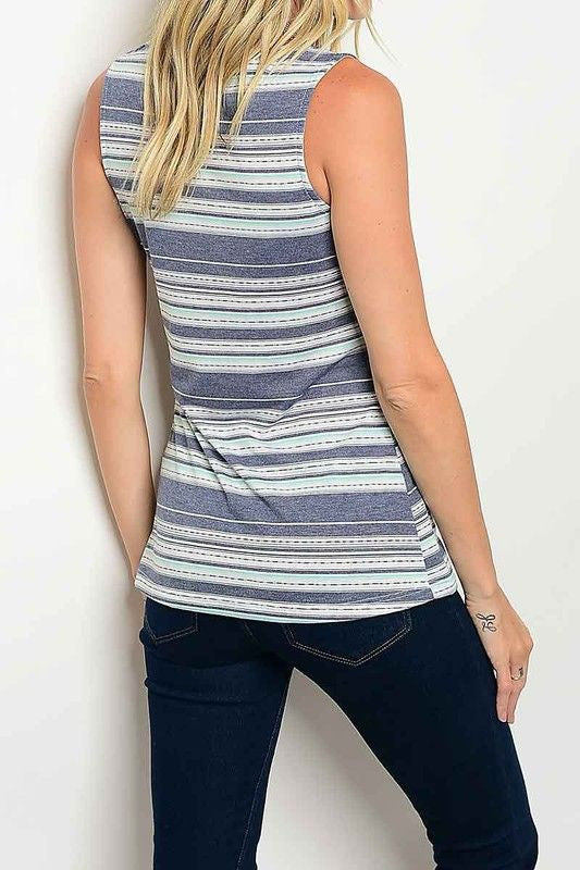 American Made Women's Blue Sleeveless Striped Twist Top Back