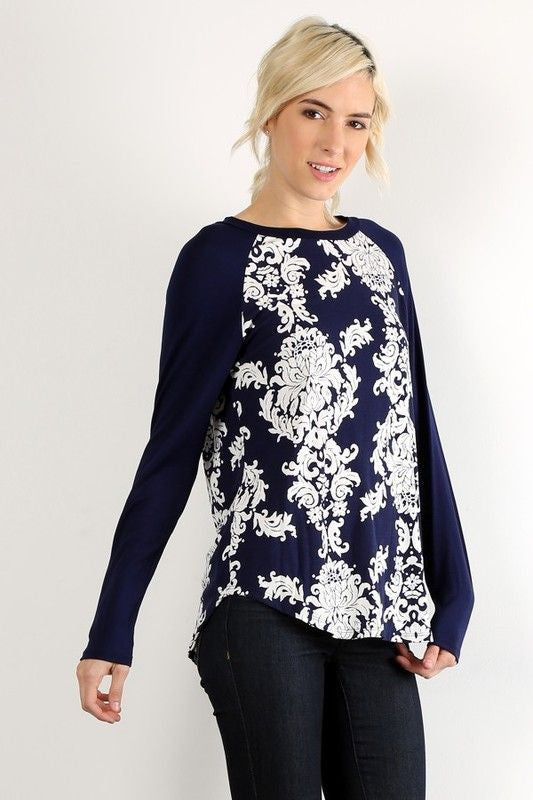 Dare We Damask Top in Navy