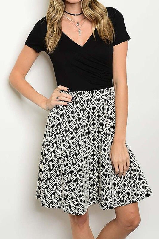 American Made Women's Black & White Geometric Print Twofer Dress Front