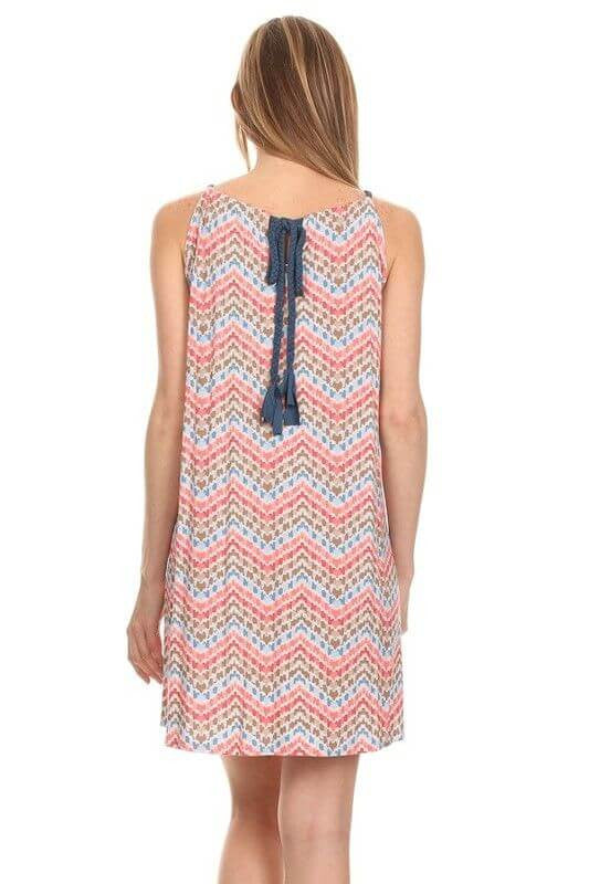 Made in USA Women's Sleeveless Dress in Chevron Print Back View