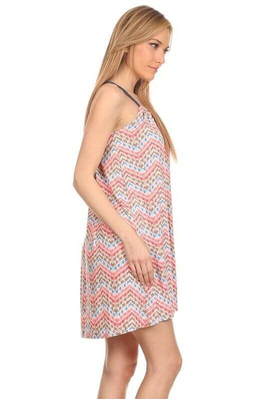 Made in USA Women's Sleeveless Dress in Chevron Print Side View
