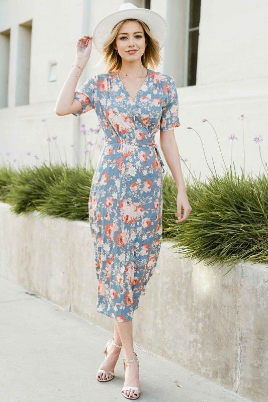 American Made Women's Blue Floral Wrap Dress