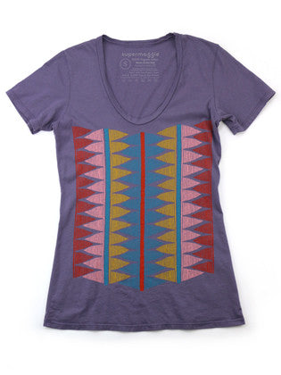 American MAde Women's Organic Cotton Purple Tribal Print T-Shirt