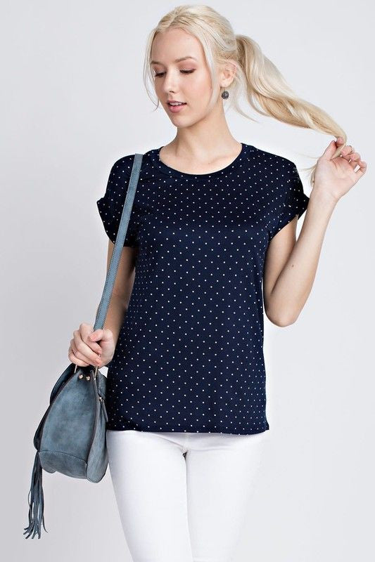 American Made Women's Navy Polka Dot Tee Front