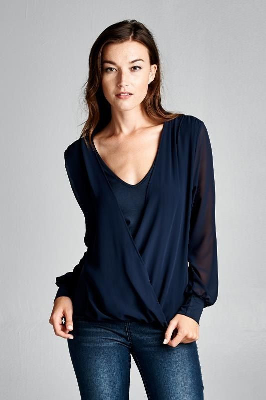 American Made Women's Faux Wrap Long Sleeve Top in Navy