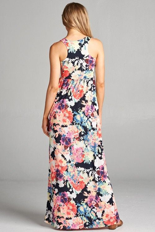 American Made Women's Vivid Floral Maxi Dress with Pockets Back