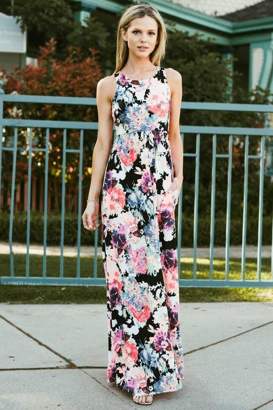 American Made Women's Vivid Floral Maxi Dress with Pockets Front