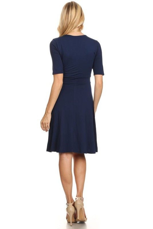American Made Women's Navy A-Line Belted Dress Back