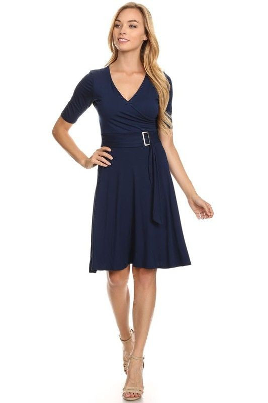 American Made Women's Navy A-Line Belted Dress Front