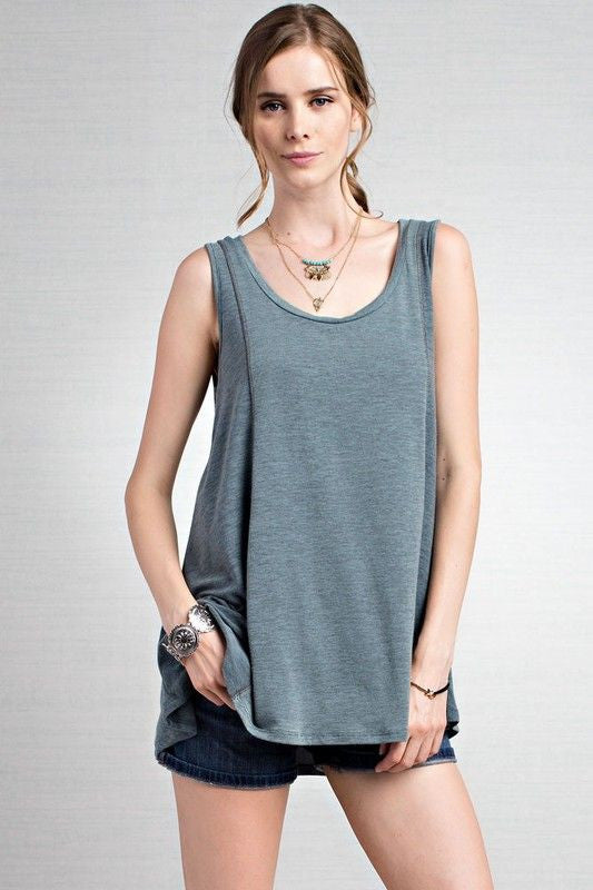 American Made Women's Seamed Swing Tank Top in Green Front