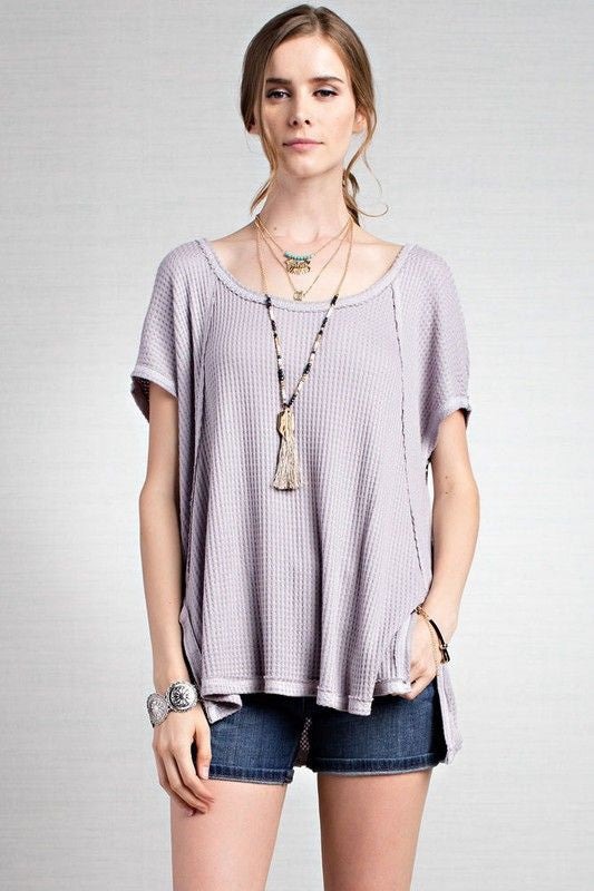 American Made Women's Thermal Knit Short Sleeve Top in Grey Front