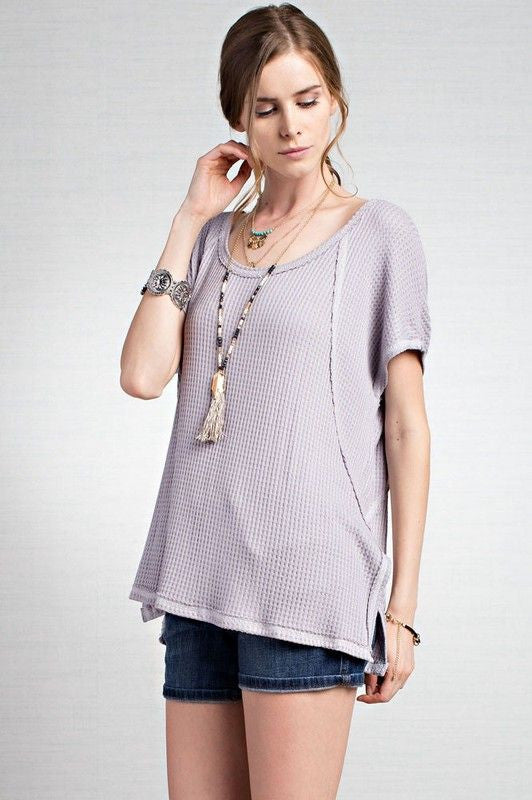 American Made Women's Thermal Knit Short Sleeve Top in Grey Side