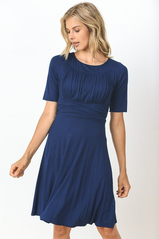 American Made Women's Navy Empire Waist Ruched Bodice Dress
