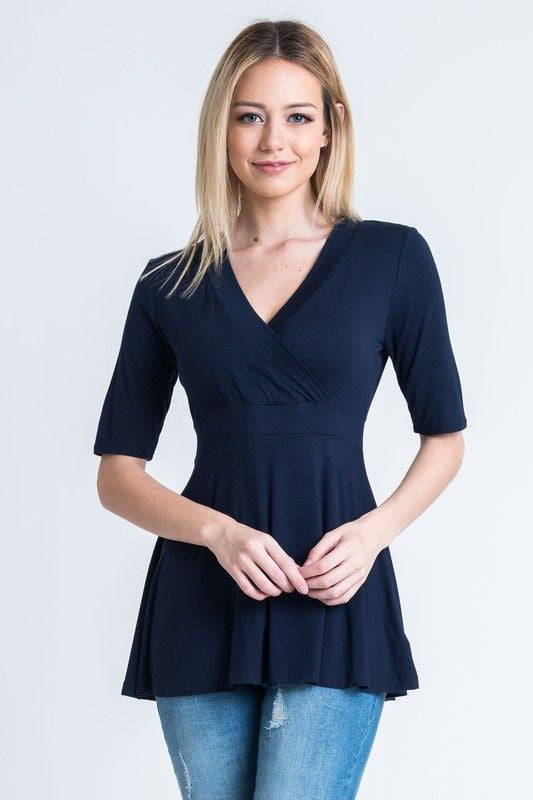 American Made Women's Navy Faux Wrap Top