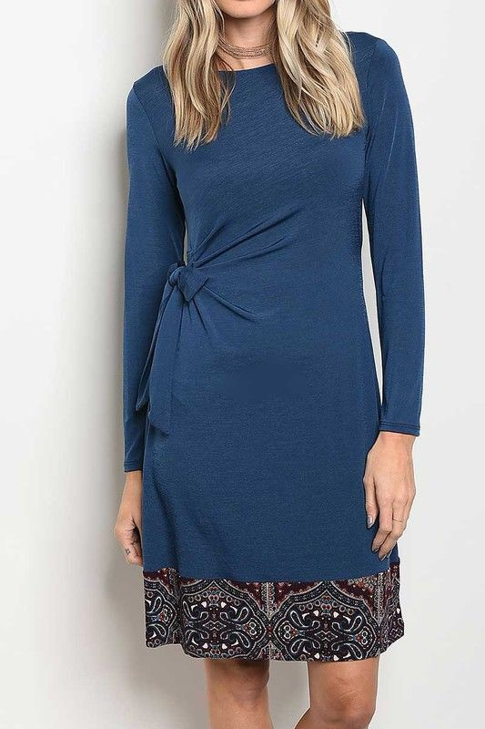 American Made Women's Blue Tie-Waist Dress Front