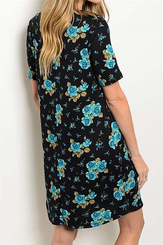 American Made Women's Blue Floral Sweater Dress from Gilli Back