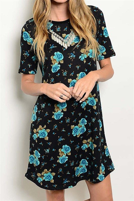American Made Women's Blue Floral Sweater Dress from Gilli Front