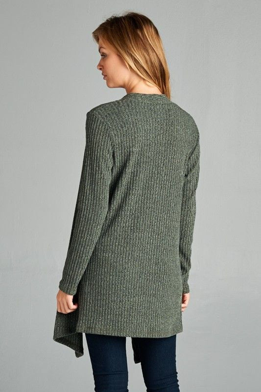 American Made Women's Green Open Front Cardigan Back