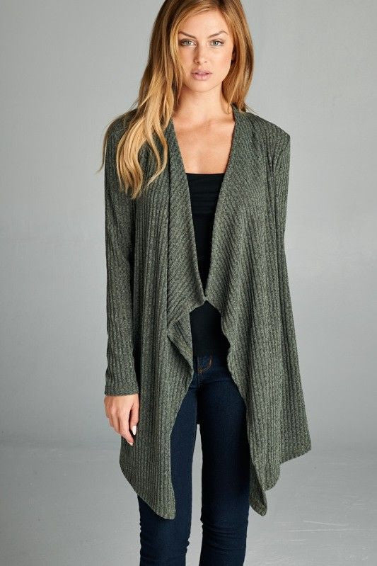 American Made Women's Green Open Front Cardigan Front