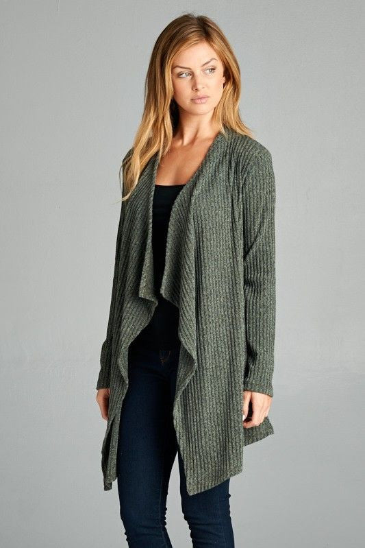 American Made Women's Green Open Front Cardigan Side