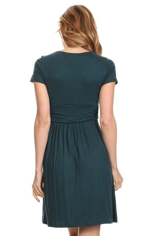 American Made Women's Green Short Sleeve Ruched Bodice Dress Back