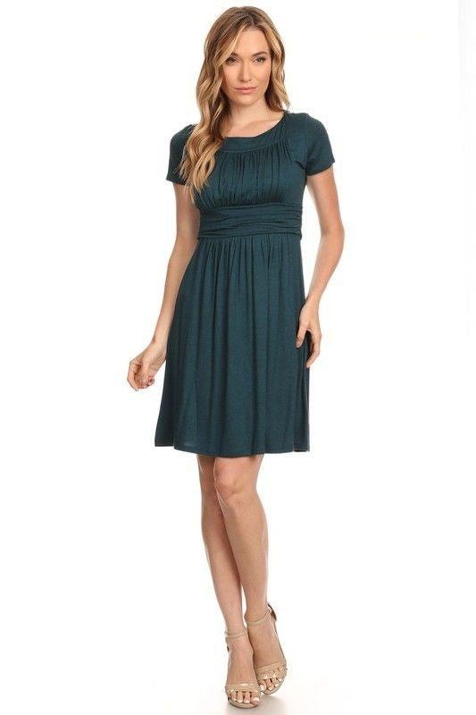 American Made Women's Green Short Sleeve Ruched Bodice Dress Front