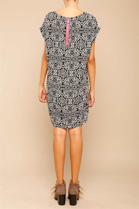 American Made Women's Tribal Patterned Shift Dress in Black Back View