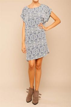 American Made Women's Tribal Patterned Shift Dress in Navy Front View