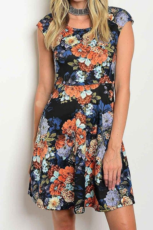 American Made Women's Black Floral Skater Dress