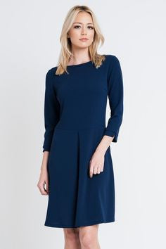 American Made Women's Navy A-Line Dress Front