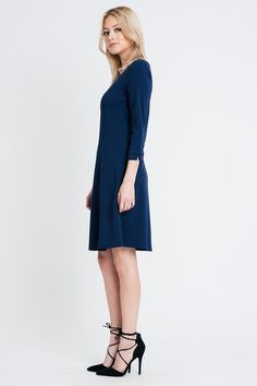 American Made Women's Navy A-Line Dress Side