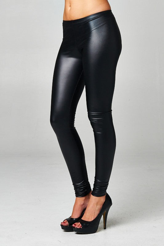 American Made Women's Black Faux Leather Leggings Side