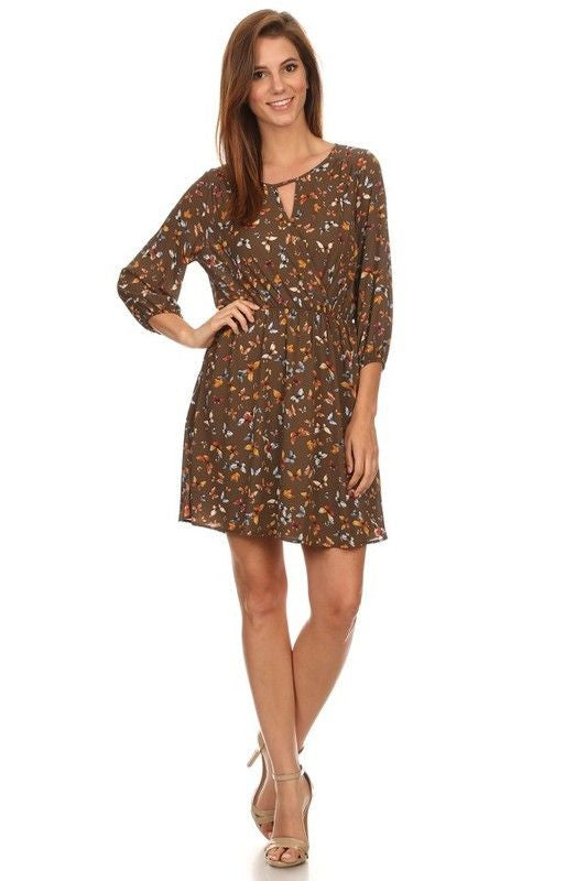 American Made Women's Butterfly Print Dress in Olive Front