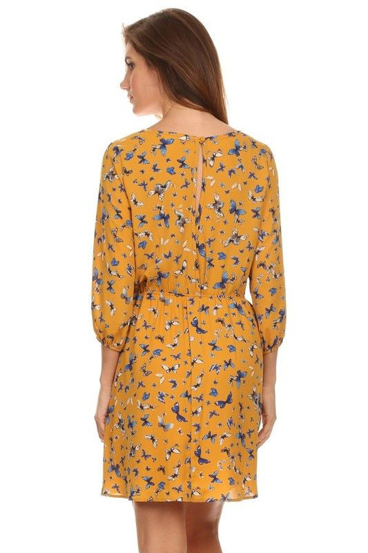 American Made Women's Butterfly Print Dress in Gold Back View