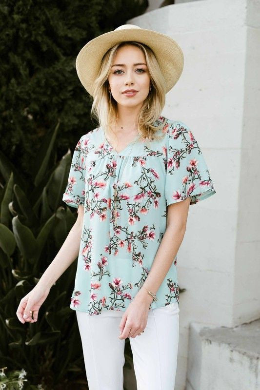 American Made Women's Boho Floral Peasant Top