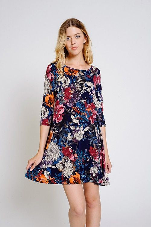 American Made Women's Fall Floral Swing Dress with Pockets Closeup
