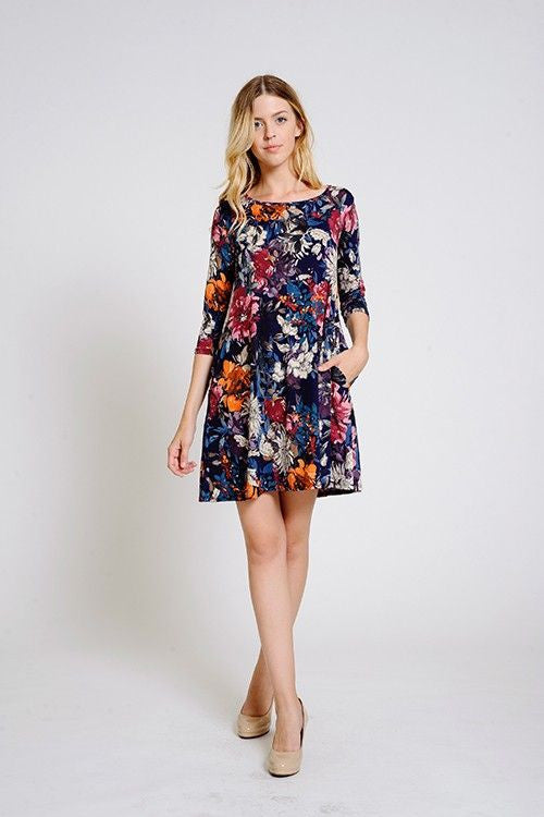 American Made Women's Fall Floral Swing Dress with Pockets