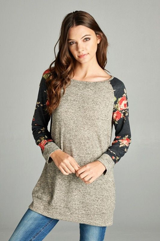 American Made Women's Floral Sleeve Raglan Tunic Top Front