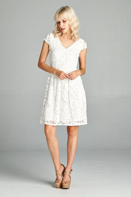 American Made Women's White Lace A-Line Dress Front