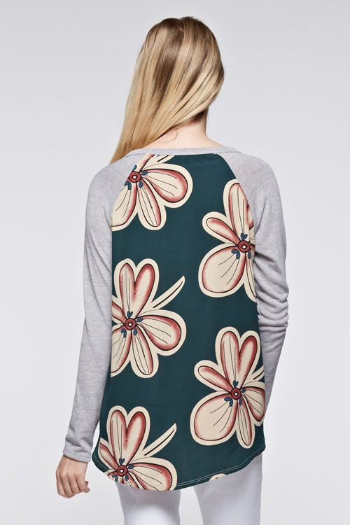 Made in USA Big Floral Mixed Media Long-Sleeve Top Back View