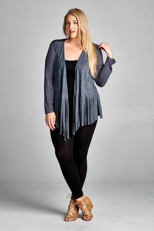 Made in USA Women's Blue Grey Faux Suede Fringe Cardigan Plus Size Front View